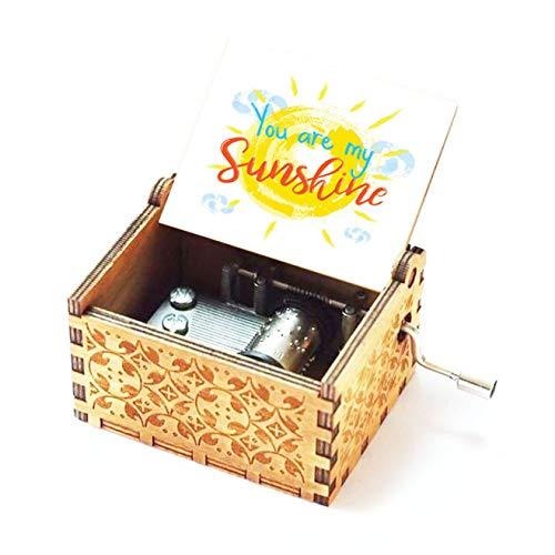 Evelure Carillon in Legno tu Sei Il Mio Sole, Antico, Intagliato a Mano, in Legno, Decorazione per la casa, Idea Regalo per Bambin (A)