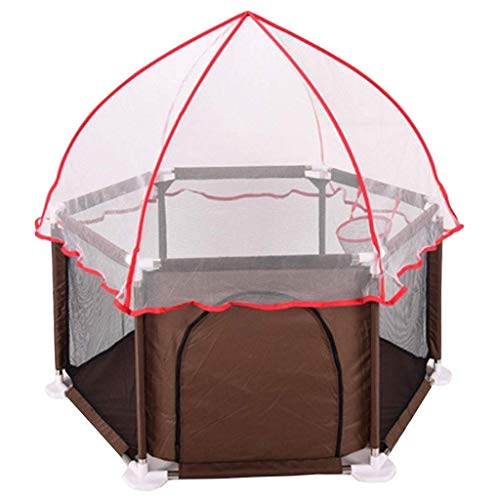 QIYUE Exqline Portable playard Met Safety Matras for zuigelingen en baby's, de beste 6-Panel Kids Box met anti UV Canopy for binnen en buiten