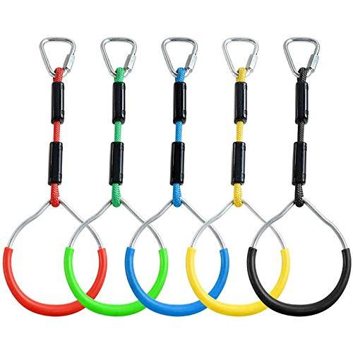 AMBH Juego de 5 piezas de columpio de color para gimnasia, anillo para exteriores, juego de patio trasero y equipo de parque infantil, apto para anillo de escalada y anillo de obstáculos