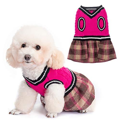 BINGPET lindo vestido de jersey para perro, suéter cálido, suéter para mascotas, ropa de punto para cachorros y gatos con patrón clásico de cuadros para otoño invierno