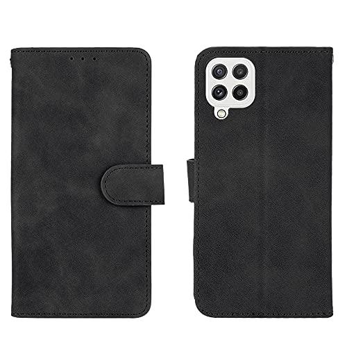 GOGME Leather Folio Funda para Samsung Galaxy A22 4G Funda, Flip Wallet Carcasa Tipo Libro Protector Magnético y Plegable de PU + TPU Soporte de Ranuras para Tarjetas, Negro