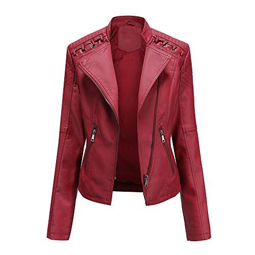 HarryHyar Mujer Clásica Chaquetas PU Cuero Manga Larga Otoño Tops Cremallera Pockets Biker Coat Slim fit Red-XL