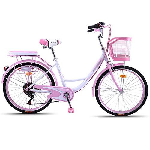 GFYWZ Bicicleta para Mujer De 24', Bicicleta De 6 Velocidades para Mujer con Canasta con Candado, Linterna, Inflador, Herramienta De Instalación para Rosa
