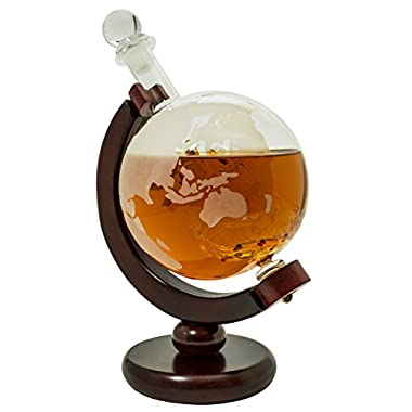 BarMe 850ml Whiskey Globe Decanter with Dark Finished Wood Stand and Bar Funnel