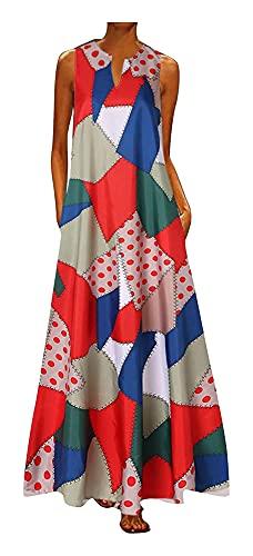 WEIWEIMITE Vestido de sol retro con estampado tropical, con cuello en V, informal, sin mangas, con bolsillo y tapón, color rojo, talla S: