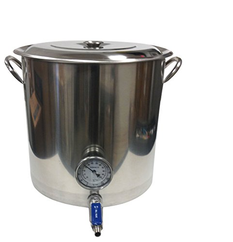 Learn To Brew 32 Quart Stainless Stock Pot with Weld Less Valve & Thermometer By Learn to Brew, 8 gallon