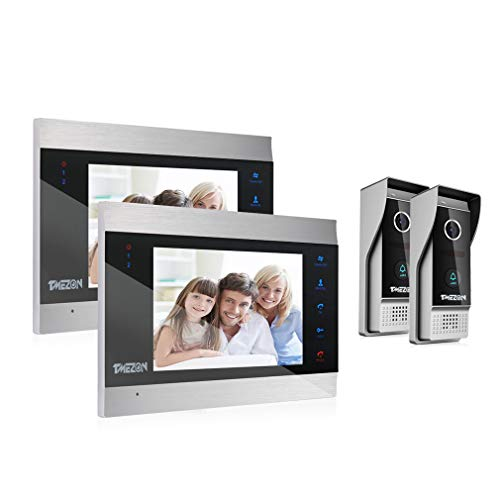 TMEZON Video Türsprechanlage Türklingel Intercom System, Türsprechanlage mit 7 Zoll 2-Monitor 2-Kamera Für 1-Familienhaus, Touch-Taste, Nachtsicht, Unterstützung automatisch Snapshot/Aufnahme