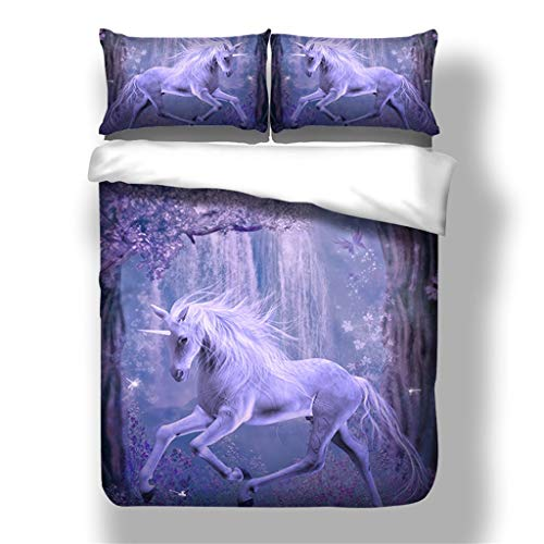 GGDPSJT Galaxy Unicorn Bedding Kids Girls Psychedelic Space Duvet Cover 3 Piece Polyester-Cotton, Multi-Colour, (Single)