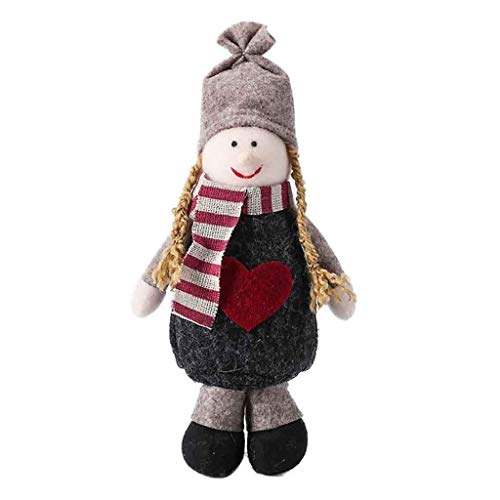 Iusun Tabletop Christmas Decoration Cute Girl Standing Pose Creative Doll Ornaments Birthday Present Bedroom Desk Decor for Home Office Supplies Gift Box (Gray)