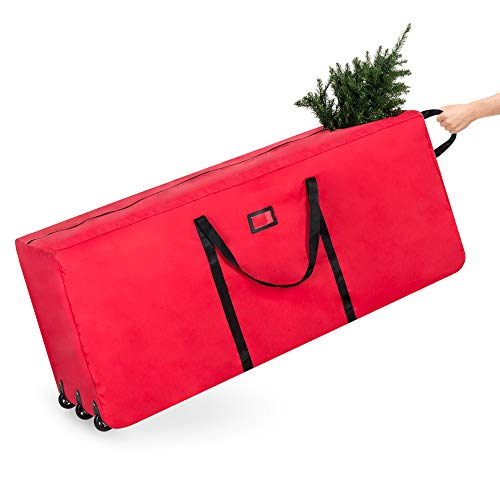 Best Choice Products Rolling Duffle Holiday Decoration Storage Bag for 9ft Christmas Tree w/Wheels, Handle - Red