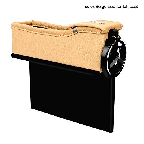 Poches de siège de voiture en similicuir, organiseur latéral pour console de voiture, compartiment de rangement multifonction, sac de rangement anti-fuite avec support de boissons. for left seat Noir