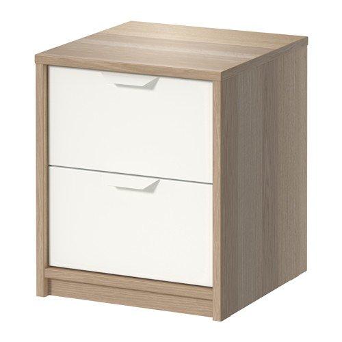 Ikea ASKVOLL Kommode mit 2 Schubladen; Eicheneffekt weiß lasiert; (41x48cm)