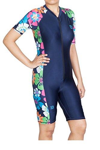 Huxlay Bros HB Sapna Ladies Modest Jumpsuit One Piece Swimsuit Surfing Suit UPF 50+, 7612, M
