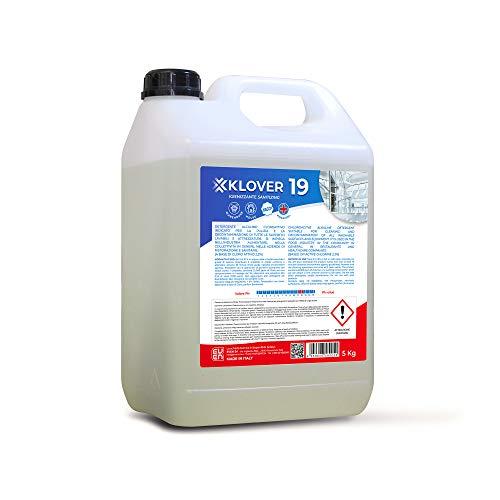 KLOVER 19 Detergente Igienizzante Sanificante a Base di Cloro Attivo al 2,2% H.A.C.C.P. Indicato per la Pulizia e la Decontaminazione da Germi e Batteri di tutte le Superfici Lavabili