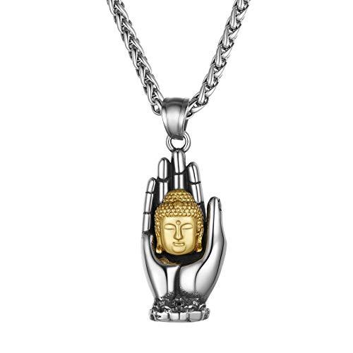 GoldChic Collar Mano Budista Cabeza Budista de Acero Bisuteria Joya Colgante Amuleto para Hombres Mujeres
