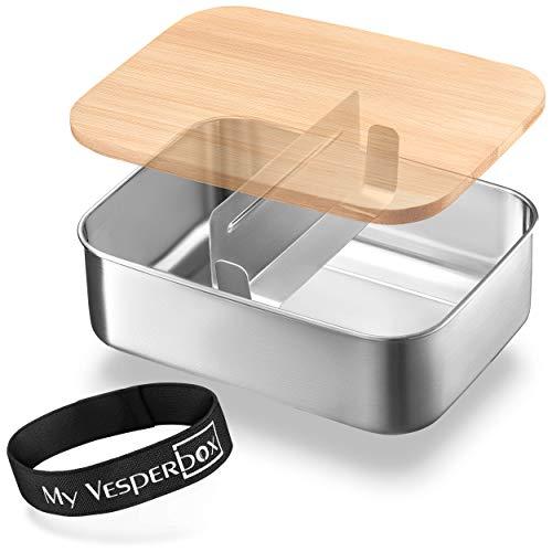 My Vesperbox – Edelstahl Bambus Brotdose mit variablen Fächern - Lunchbox - extrem robust – Vesperdose – Brotbox ideal für Kindergarten, Schule und Büro…