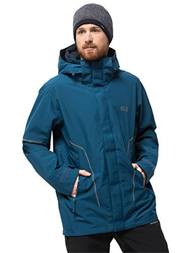 Jack Wolfskin Men's Taiga Trail M Waterproof Recycled Shell Jacket, Poseidon Blue, Small