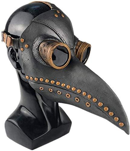 YZ Doctor de la Peste Medieval Máscara de Cabeza de pájaro con Nariz Larga Máscara de látex gótica de Steampunk Cosplay Accesorios de Disfraces de Navidad de Halloween (Negro + Cobre)