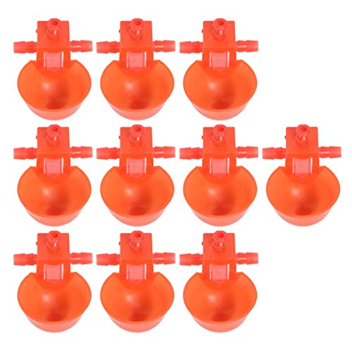 POPETPOP Chicken Automatic Water Feeder Bowl Birds Duck Self Waterer Poultry Farming Equipment Red 10pcs
