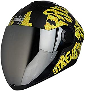 Steelbird SBA-2 Strength Stylish bike full face helmet with free transparent Visor for night vision (580MM, Black with Yellow - Silver Mirror Visor)
