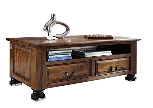 MASSIVMOEBEL24.DE Kolonialstil Palisander massiv Holz Möbel Couchtisch 115x60 Sheesham vollmassiv lackiert Massivmöbel New Boston #203
