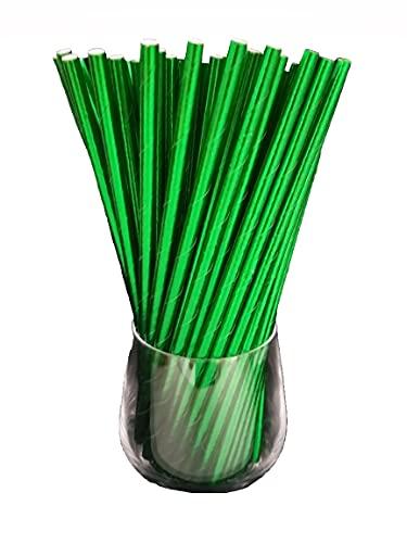 Cannucce di carta, cannucce di carta, biologiche, per uso alimentare, resistenti all'ambiente, confezione da 120 (verde metallico)