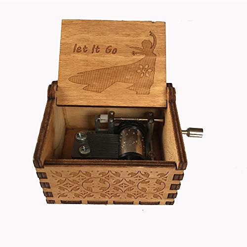 MINGZE Premier Spieluhr, Vielzahl von Stilen Musik-Box Hand-hölzerne kreative Holz Handwerk Gravur aus Holz Dekorative Box (Frozen)