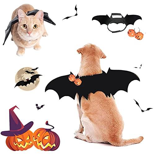 Halloween Haustier Kostüm,Vampir Fledermaus Flügel Kostüme,mit 2pcs Pumpkin Bell,Katze Hund Fledermaus Kostüme,Halloween Hund kostüm,Fledermausflügel Kostüm,Haustier Hund Katze Halloween Kostüme