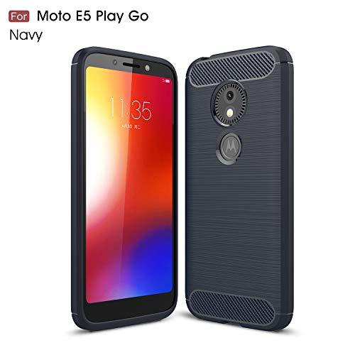 Gray Plaid Coque Motorola Moto E5 Play Go, Ultra Mince Léger Antichoc en Fiber De Carbone Design Flexible TPU Souple Silicone Protection Housse Etui Case Cover pour Motorola Moto E5 Play Go - Bleu
