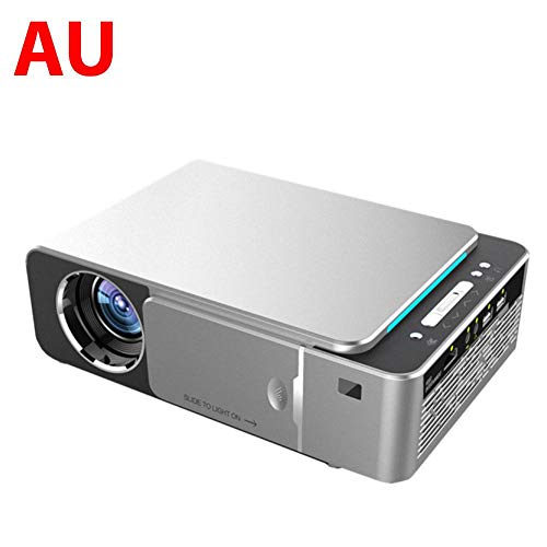 Fancylande Mini-projector, draagbaar, full HD, LED, 4 K, 3D, 1080P, beamer voor thuisbioscoop, Android 9.0, WiFi, met IR-aansluiting, USB, AV, HDMI, SD-kaart T6, 3500 Safety, AU Argento, AU Argento