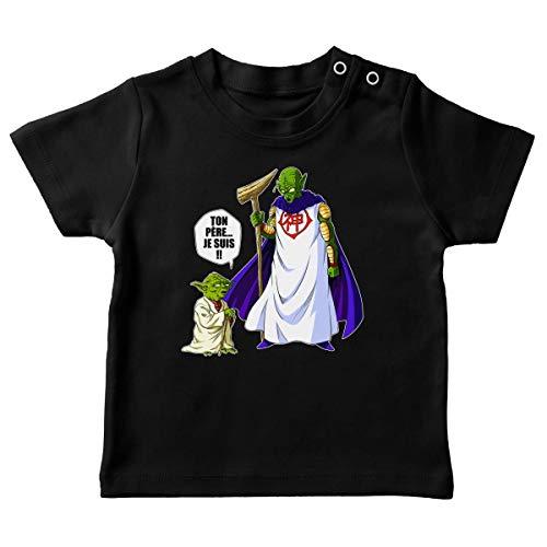 T-Shirt bébé Noir Dragon Ball Z - Star Wars parodique Yoda et Dieu : Ton père. Je suis !! (Parodie Dragon Ball Z - Star Wars)