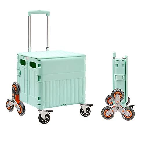 Carretilla con Caja Plegable Carro de Escalada de Escalera portátil, cajón Plegable con Tapa magnética, vehículos Pesados, Viajes, Compras, vehículos utilitarios (Color : with Brakes, Size : Large)