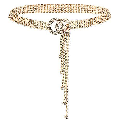 YooAi Cinturón De Cintura De Cristal para Mujer Cinturón De Cadena con Diamantes De Imitación Cinturón De Cintura con Anillo En O para Vestido Dorado 135cm