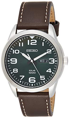 Seiko Men's Year-Round Stainless Steel Solar Powered Watch with Leather Strap, Brown, 22 (Model: SNE473P1)