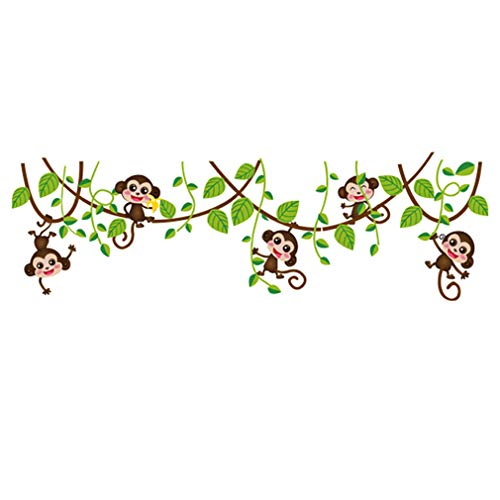 Hip-hop Cartoon Monkey Tree Removable Wall Decal PVC Home Sticker House Decoration WallPaper Living Dinning Room Bedroom Kitchen Art Picture DIY Murals Girls Boys kids Nursery Baby Playroom Decor by fashionbeautybuy1