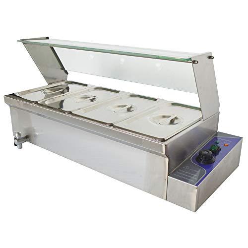 TECHTONGDA 4-Pot Bain-Marie Food Warmer Stainless Steel Bath Warmer Steam Table