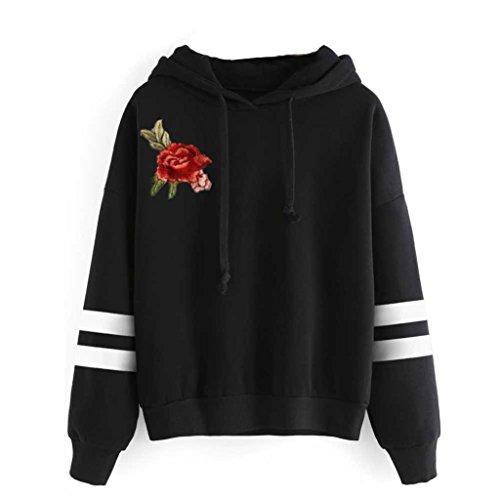 kaifongfu Sales, Womens Long Sleeve Hooded Sweatshirt Jumper Hoodies Pullover Tops Blouse (M, Black BB)
