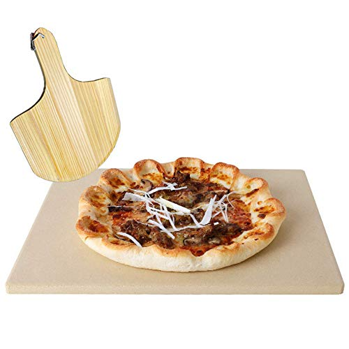 AILSAYA Pizza Grillstein, Pizza Stein/Backstein/Pizza Pfanne, Premium Natur Bambus Pizza Peel Mit Griff Keramik Pizza Grillstein Ideal Für Hausgemachte Obst Käse Und Wurstbretter