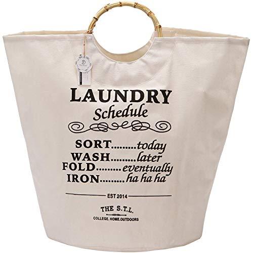 YZHM Tabla de lavandería del Marino, 18 por 15 Pulgadas de Lona Plegable de Lona de Lona de lavandería Cesta de la Bolsa de Asas con Asas de bambú, Recubrimiento Impermeable, Blanco