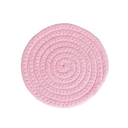 Manyao Handarbeit Baumwolle Seil Platzdeckchen Hand gesponnene Tischsets Servietten Geschirr Getränk Cup Coaster Isolierung Pad Küche Abendessen Wohnkultur (Color : Pink, Size : Round)