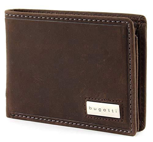 bugatti Hunter RFID Coin Wallet with Flap Metal Logo 4CC Brown