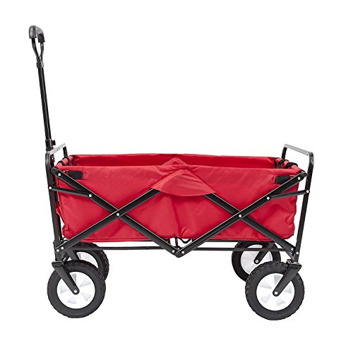 Meda 40848 | Collapsible Folding Outdoor Utility Wagon Cart (Red)