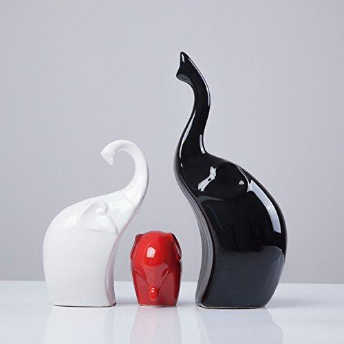 Dekofiguren aus Porzellan Elefanten Familie 3-er Set Höhe 24/16/7cm schwarz/weiß/rot
