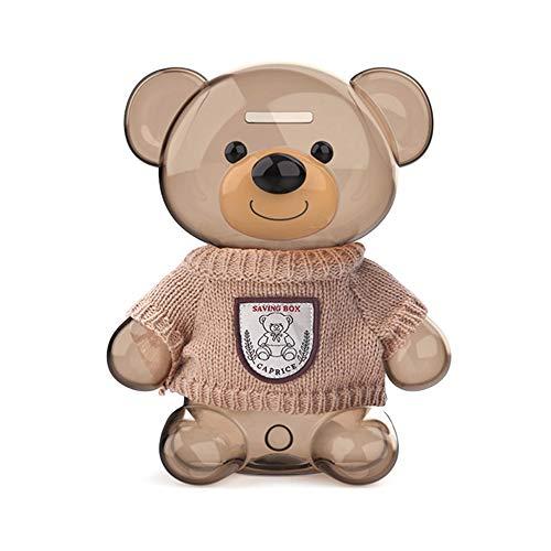 Creatieve schattige beren geld besparen bank, plastic deposit box openbare spaarvarken kinderen cartoon munt cash saving box 21.2 * 17.6 cm beige #B