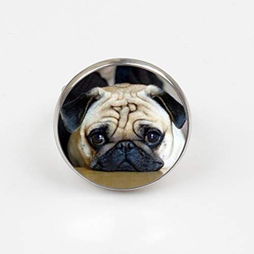 Anillo redondo de cristal con forma de cúpula de animales, diseño de carlino y perro, el mejor...