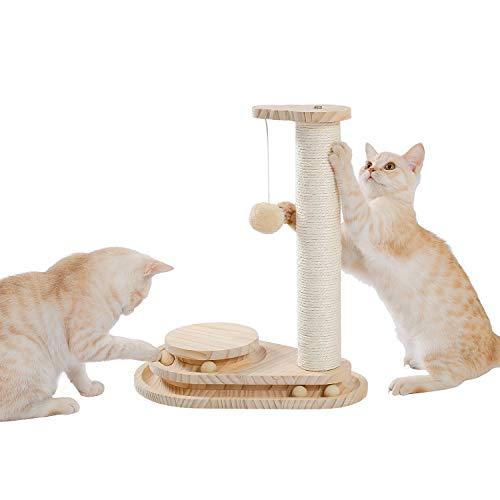 Amazon Brand – Umi Poste rascador de Gato pequeño rascador de sisal de árbol de Gato de Madera Exquisito con Bola Colgante Bola de Juguete interactiva Beige 45cm