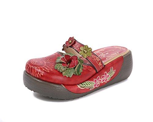 Sandalias Mujer, Popoti Sandalias Verano Cuero Zapatillas Mocasines Chanclas de Bohemia Zapatos de Flores Vintage Zapatillas de Chanclas Tacón De Cuña de Playa Nuevo(Rojo, 39)