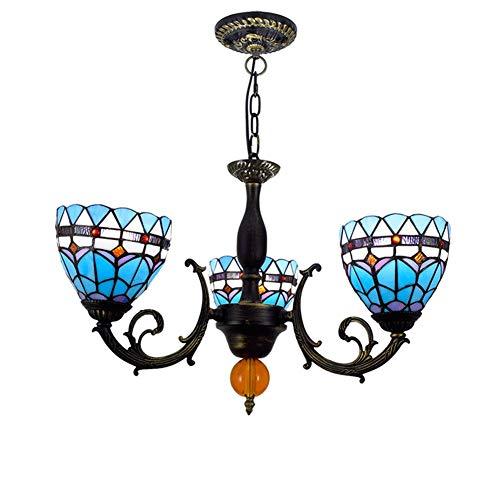 Luminaria colgante de techo 6 pulgadas de Tiffany vidrio manchado del estilo de la lámpara mediterránea Sombras 3 armas Araña Con invertido techo de la lámpara colgante