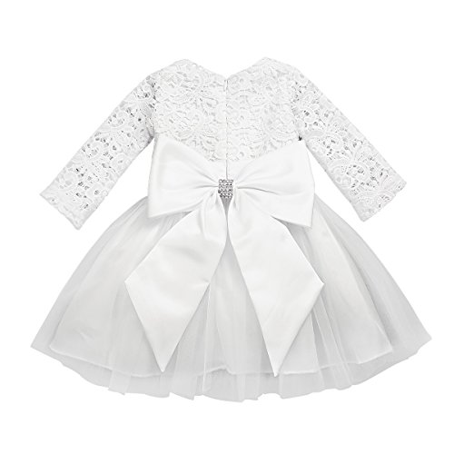 TiaoBug Baby Mädchen Prinzessin Kleider Blumenmädchenkleid Taufkleid Festlich Kleidung Hochzeit Partykleid Festzug Babybekleidung 3-24 Monate Ivory 12 Monate
