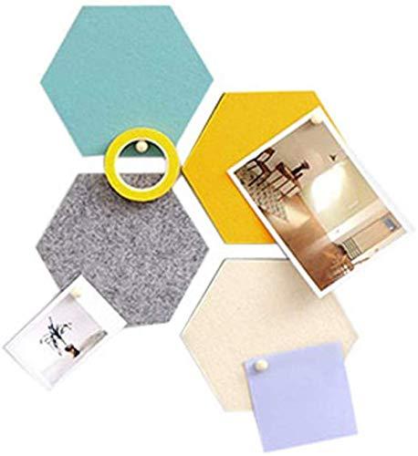 Vilt Bulletin Board Kurk Board Tegels, 4 stks Puzzel Hart Zeshoek Pin Board w/Zelfklevend om herinneringen te houden Foto's Memos Display Board Pads Afbeeldingen Tekenen Doelpunten Opmerkingen Kleurrijke Schuim muur Decoratief hexagon